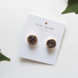 NWT Kate Spade Grey Gold Studs